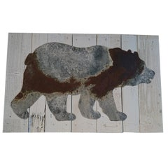 Metal Bear on Old Boards