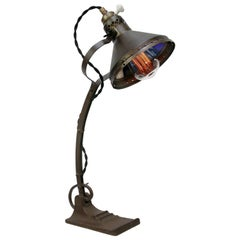 Metal Brass Mercury Glass Vintage Industrial Cast Iron Table Desk Light