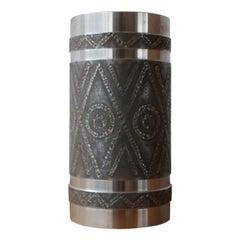 Metal Brutalist Mid-Century Large Vase