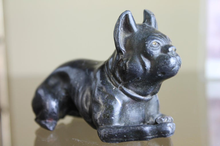 Antique metal French bulldog figurine in the style of Tiffanys Studio. This heavy metal bulldog paperweight, statue was probably mounted on a base or used as on ornament; see the chest of the dog. Early 20th century, Art Nouveau, Art Deco Dog