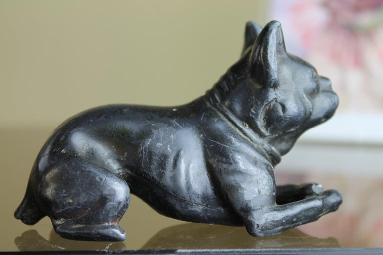 Art Nouveau Metal Bulldog Paperweight Figurine Early 20th Century For Sale