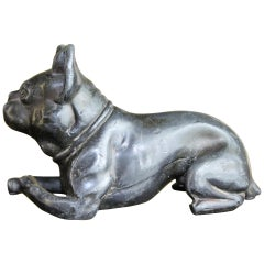 Metal Bulldog Paperweight Figurine Early 20th Century