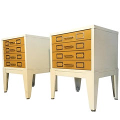 Metal Cabinet Four-Drawer Nightstands in the Style of George Nelson