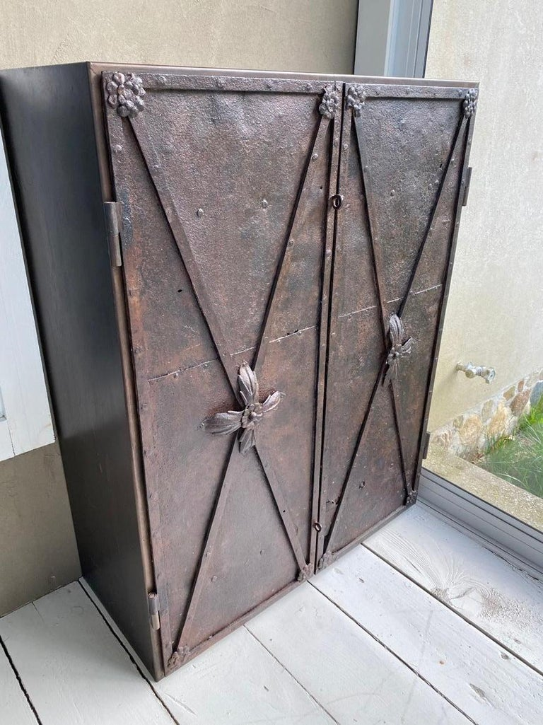 Metal Cabinet with Antique French Directoire Period Doors For Sale 6