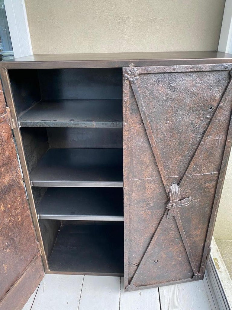 Hand-Crafted Metal Cabinet with Antique French Directoire Period Doors For Sale