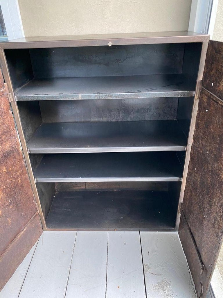 18th Century and Earlier Metal Cabinet with Antique French Directoire Period Doors For Sale