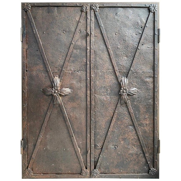 Metal Cabinet with Antique French Directoire Period Doors For Sale