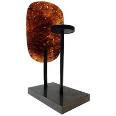 Metal Candle Holder with Tortoise Shell Screen