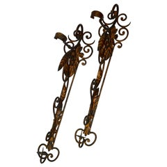 Metal Candleholder Wall Sconces with Foliate and Scrolls