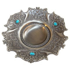 Metal Cast Silvered Platter with Turquoise Stones Inlaid