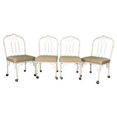 Metal Cathedral Style Fretwork Dining Chairs, Set of 4