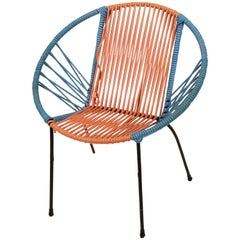 Metal Chair and Children's Plastic Red and Blue Chair, Italy, 1950s, RIMA Style
