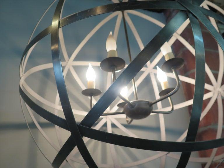 Metal Chandelier In Good Condition For Sale In Bridgehampton, NY