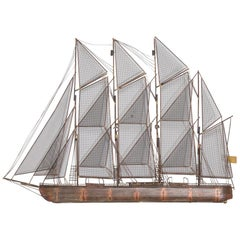 Metal Clipper Boat Wall Sculpture by Curtis Jere 1975