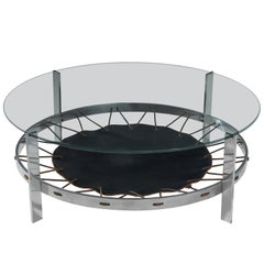 Metal Coffee Table with Glass Top and Leather