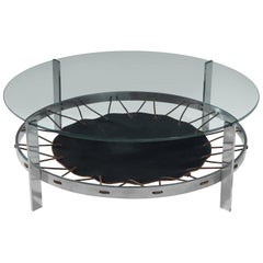 Metal Coffee Table with Glass Top and Spanned Leather
