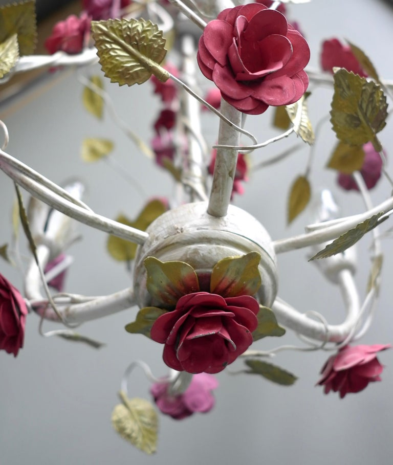 Italian Metal Colorful Hand Painted Romantic Roses Bouquet Pendant Lamp, Italy, 1960s For Sale