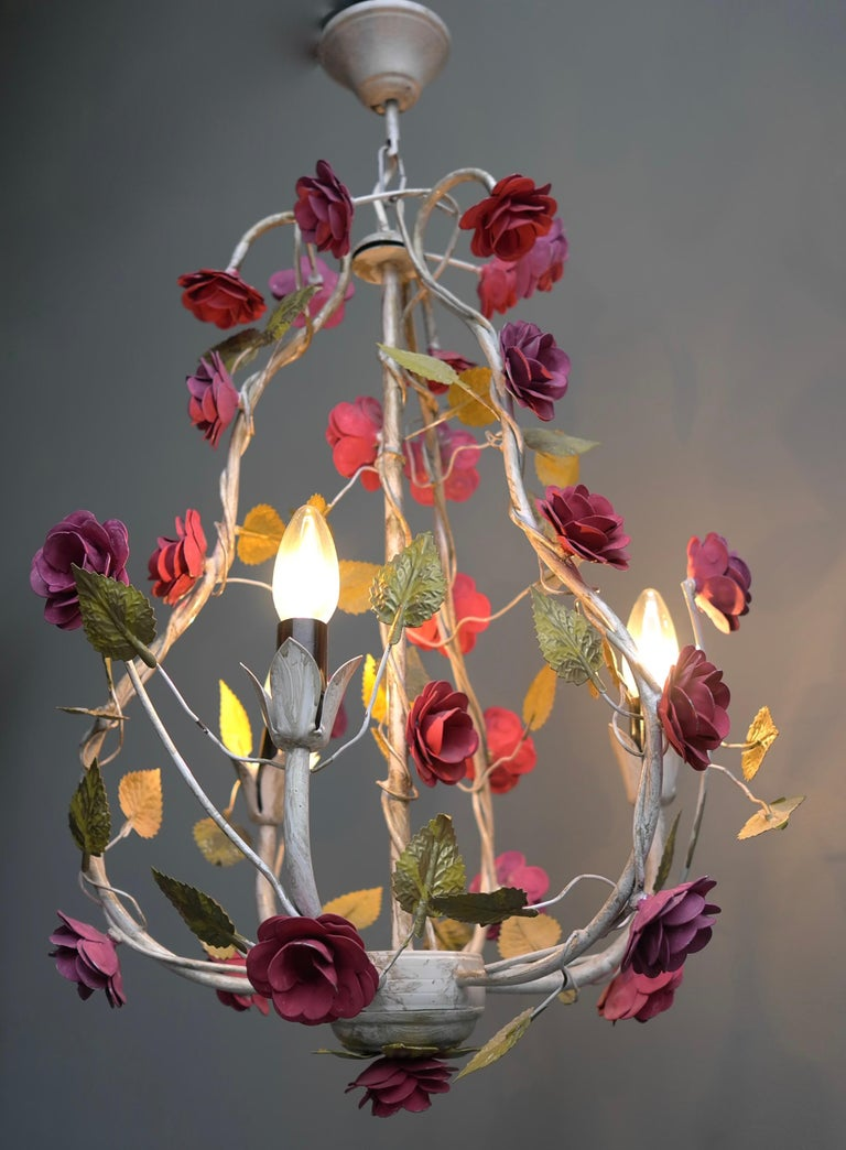 Hand-Painted Metal Colorful Hand Painted Romantic Roses Bouquet Pendant Lamp, Italy, 1960s For Sale