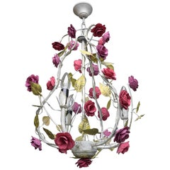 Metal Colorful Hand Painted Romantic Roses Bouquet Pendant Lamp, Italy, 1960s