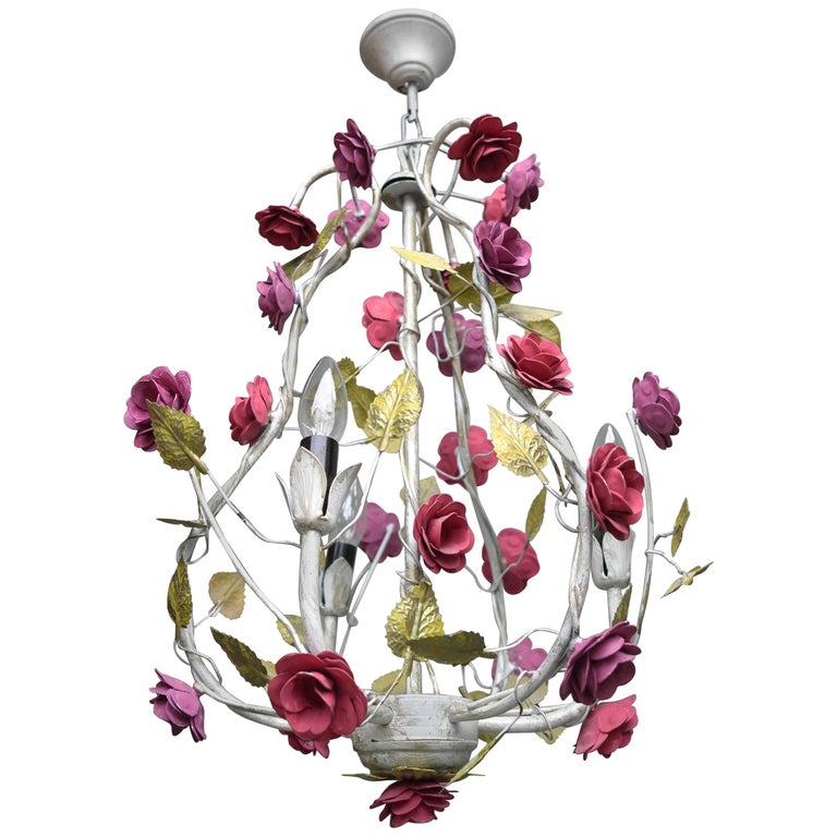 Metal Colorful Hand Painted Romantic Roses Bouquet Pendant Lamp, Italy, 1960s For Sale