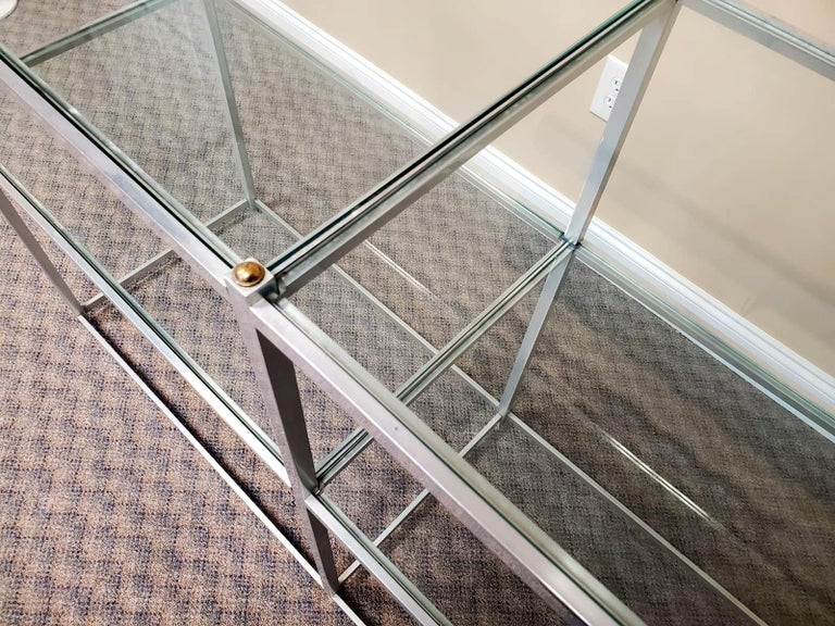 Mid-Century Modern Metal Console Table with Glass Shelves John Vesey For Sale