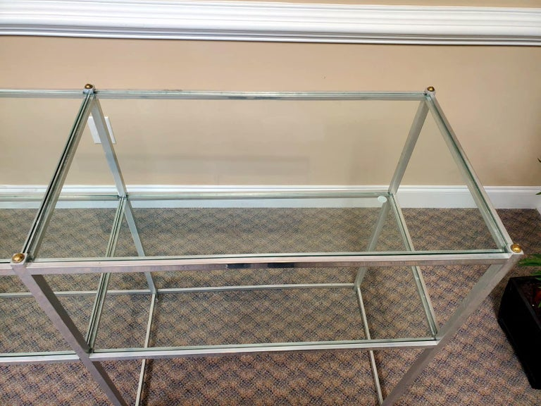 American Metal Console Table with Glass Shelves John Vesey For Sale