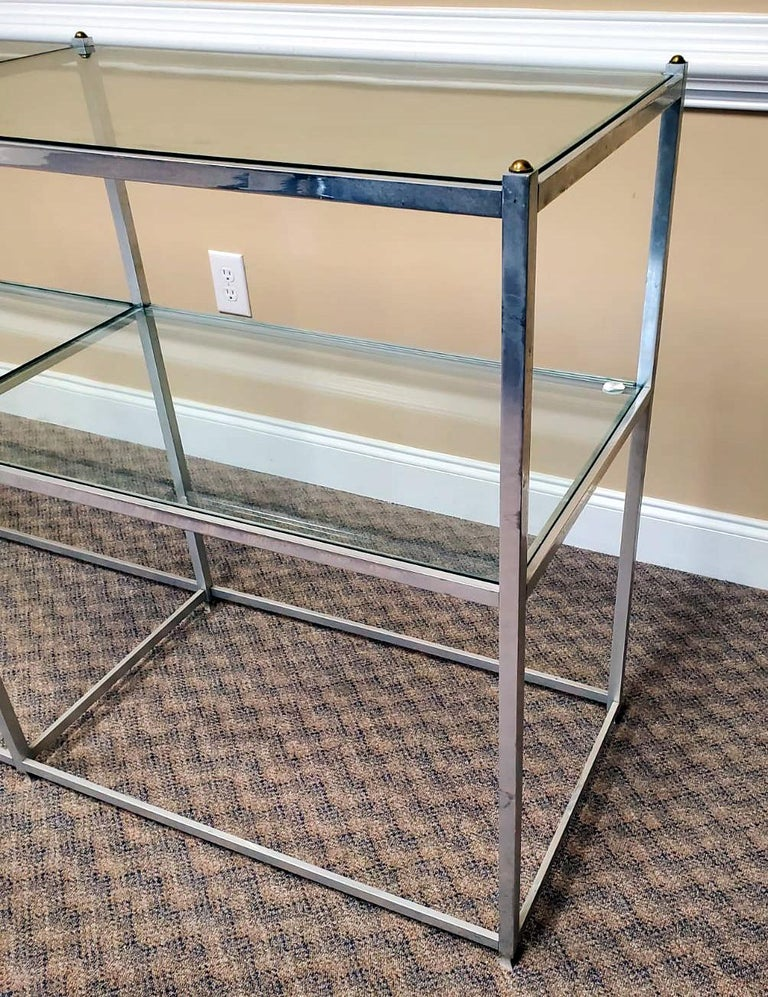 Metal Console Table with Glass Shelves John Vesey In Good Condition For Sale In North Miami, FL