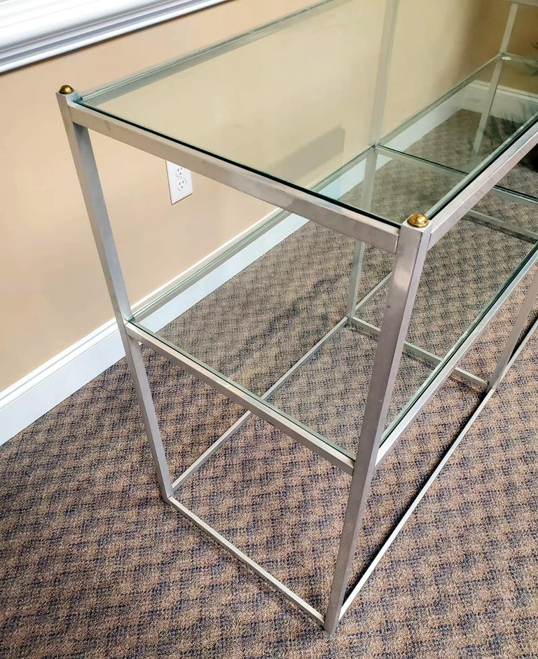 20th Century Metal Console Table with Glass Shelves John Vesey For Sale