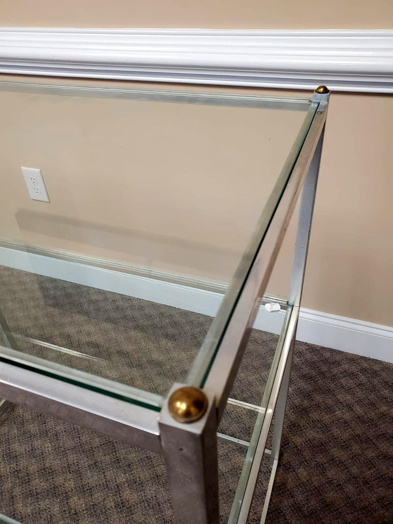Glass Metal Console Table with Shelves John Vesey For Sale