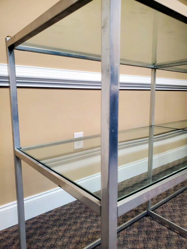 Metal Console Table with Glass Shelves John Vesey For Sale 2