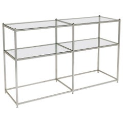Metal Console Table with Glass Shelves John Vesey