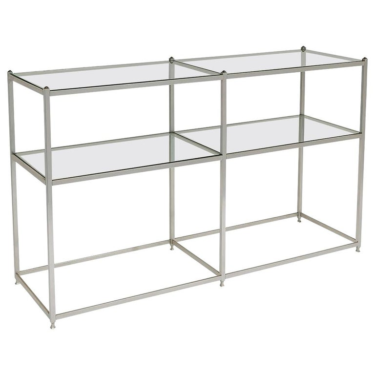 Metal Console Table with Glass Shelves John Vesey For Sale