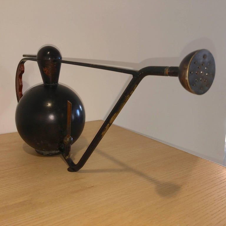 Mid-Century Modern Metal Crafted Brass and Copper Patinated Watering Can