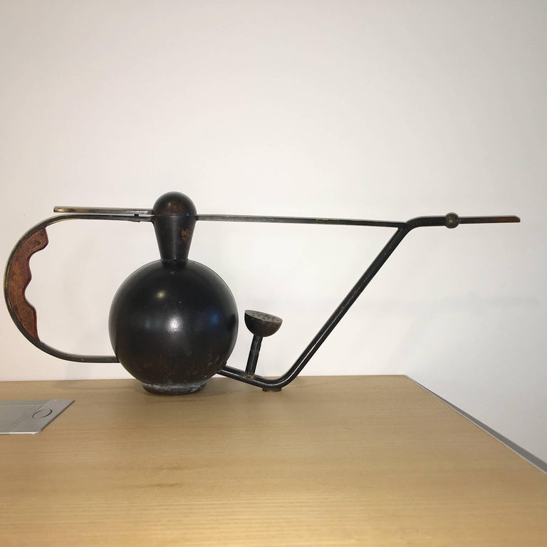 Metal Crafted Brass and Copper Patinated Watering Can In Excellent Condition In Hingham, MA