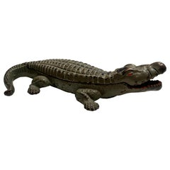 Metal Crocodile Ashtray / Matchbox