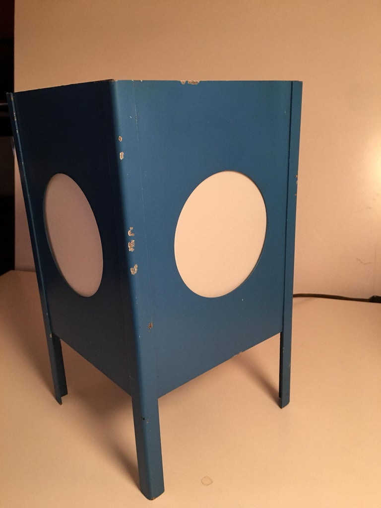 Mid-Century Modern Metal Cube Lamps with Velum Covered Portholes For Sale
