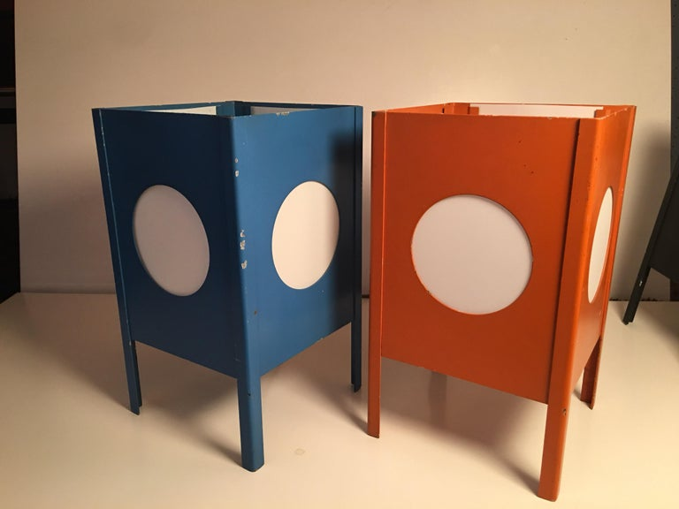 American Metal Cube Lamps with Velum Covered Portholes For Sale