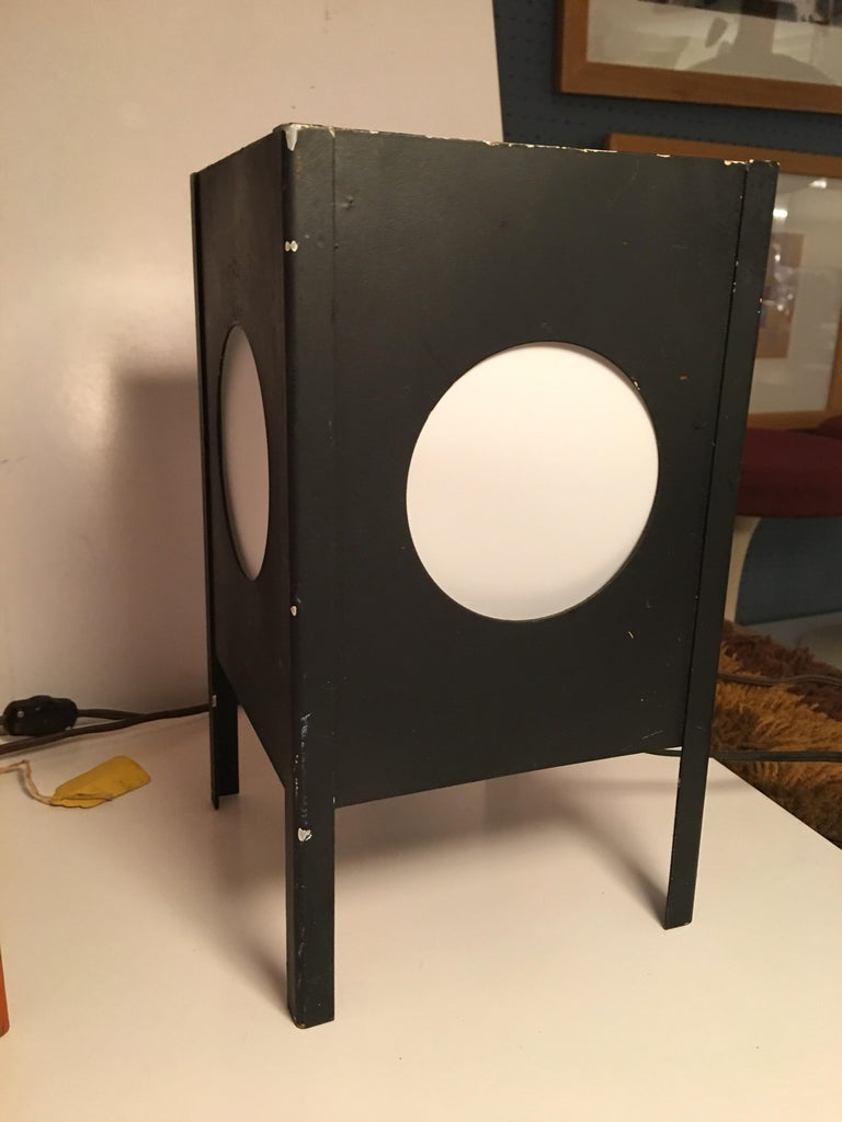 Metal Cube Lamps with Velum Covered Portholes In Good Condition For Sale In Philadelphia, PA