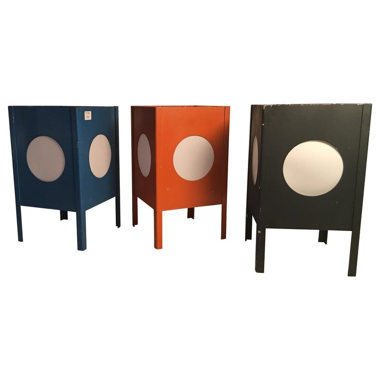 Metal Cube Lamps with Velum Covered Portholes For Sale