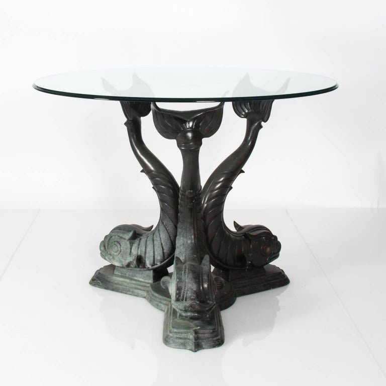 Metal Dolphin Base Garden Table For Sale 6