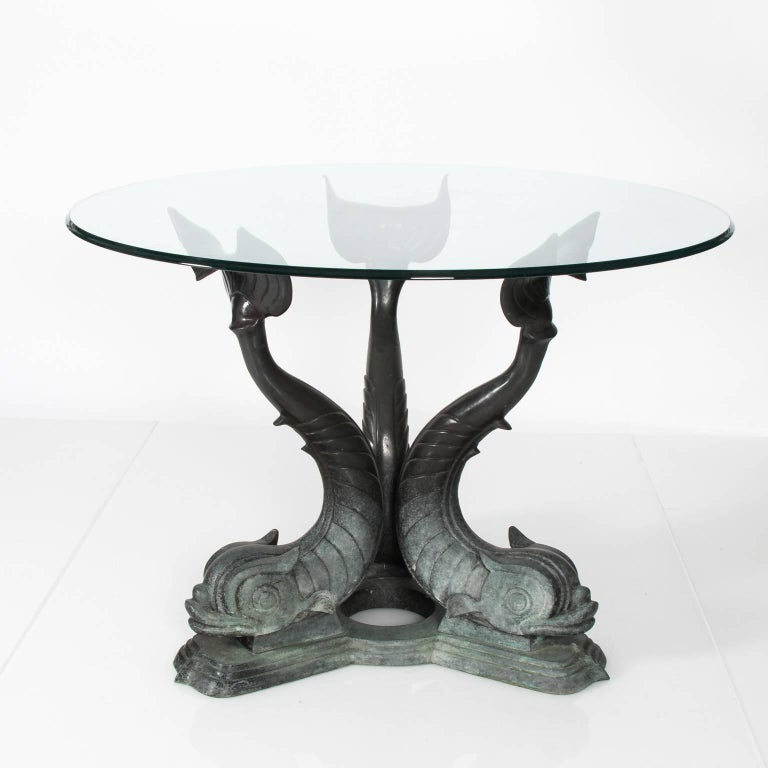 Metal Dolphin Base Garden Table For Sale 8