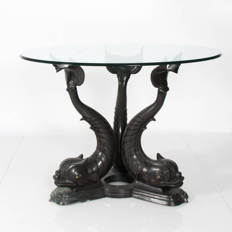 Metal Dolphin Base Garden Table For Sale 2