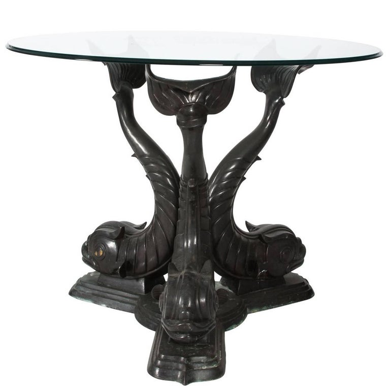 Metal Dolphin Base Garden Table For Sale