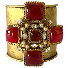 "Metal Dore ""Gilded"" Diamante and ""Pate de Verre"" Maltese Cross Cuff Bracelet"