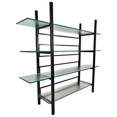 Metal Étagère with Four Reeded Glass Shelves