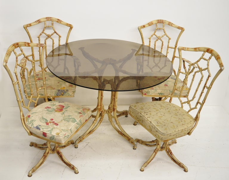 Metal Faux Bamboo Chinese Chippendale Five-Piece Dining Set For Sale 8
