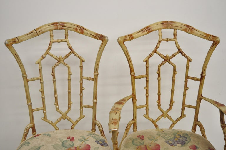 Metal Faux Bamboo Chinese Chippendale Five-Piece Dining Set In Good Condition For Sale In Philadelphia, PA