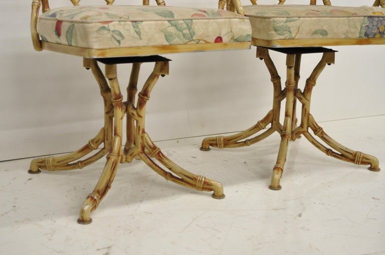 20th Century Metal Faux Bamboo Chinese Chippendale Five-Piece Dining Set For Sale