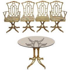 Metal Faux Bamboo Chinese Chippendale Five-Piece Dining Set