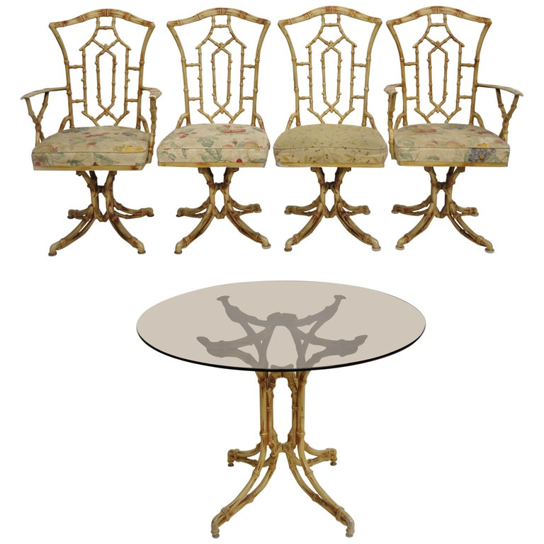 Metal Faux Bamboo Chinese Chippendale Five-Piece Dining Set For Sale